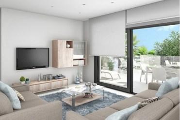 nowocześnie urządzony salon w luksusowej willi w Hiszpanii (Costa del Sol, Estepona) na sprzedaż