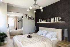 widok na elegancką, prywatną sypialnię w luksusowym apartamencie na sprzedaż Kraków