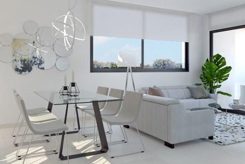 nowoczesny salon w ekskluzywnym apartamencie do sprzedaży Hiszpania (Costa Blanca, Urb. Las Lomas)