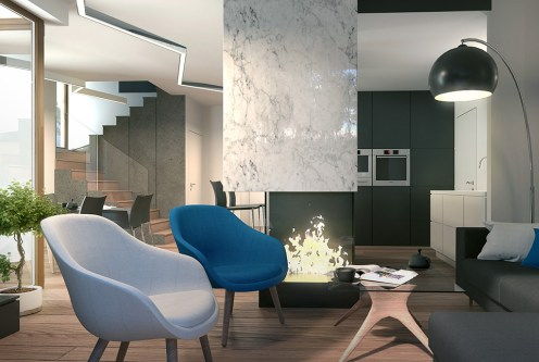 komfortowe i nowoczesne wnętrze salonu w ekskluzywnej willi do sprzedaży Łódź (okolice)