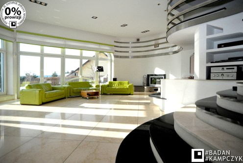 ultra nowoczesne i designerskie wnętrze salonu luksusowej willi do sprzedaży Katowice