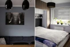 po lewej fragment salonu,, po prawej sypialni w ekskluzywnym apartamencie na sprzedaż Konin