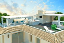 rzut z lotu ptaka prezentujący ogromny taras na dachu luksusowej rezydencji do sprzedaży Turcja (Esentepe)