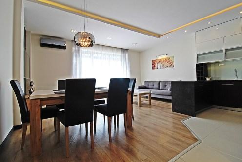 prestiżowa jadalnia oraz salon w ekskluzywnym apartamencie do wynajęcia Kraków