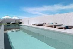 widok na basen przy ekskluzywnym apartamencie do sprzedaży Hiszpania (Orihuel)
