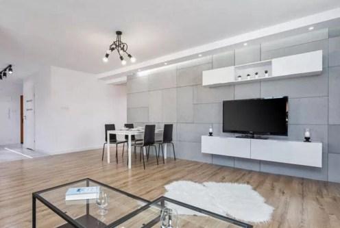 nowoczesny salon w luksusowym apartamencie do sprzedaży Gdynia