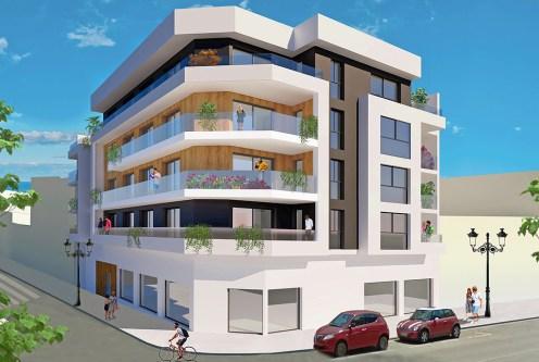 komfortowy apartamentowiec, w którym znajduje się oferowany na sprzedaż luksusowy apartament Guardamar De Segur (Hiszpania)