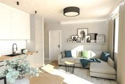 widok z innej perspektywy na pokój dzienny w luksusowym apartamencie na sprzedaż Ostrów Wielkopolski
