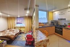 po lewej sypialnia, po prawej kuchnia w ekskluzywnym apartamencie do sprzedaży Chrzanów (okolice)