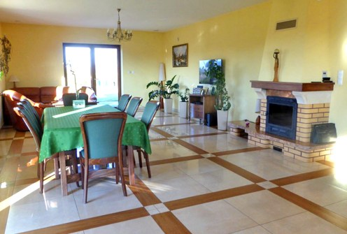 prestiżowy salon z kominkiem w luksusowej willi na sprzedaż Piotrków Trybunalski