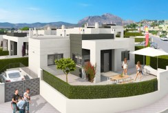 rzut z lotu ptaka na osiedle, na którym znajduje się oferowana do sprzedaży ekskluzywna willa Hiszpania (Costa Blanca, Alicante, Busot)