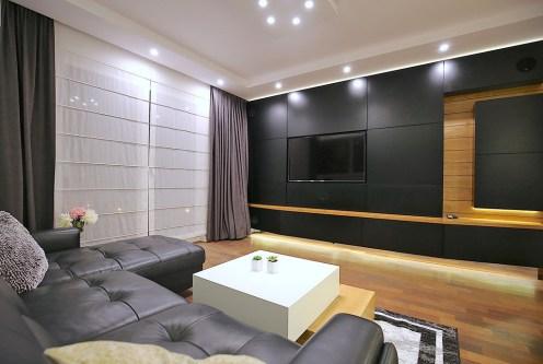 nowoczesny salon w ekskluzywnym apartamencie do wynajęcia Szczecin