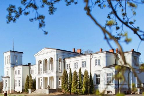 reprezentacyjne wejście z kolumnami do ekskluzywnego pałacu do sprzedaży Wielkopolska