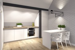 kuchnia w funkcjonalnej zabudowie z jadalnią w luksusowym apartamencie do sprzedaży Szczecin