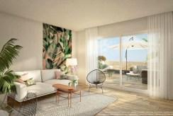 nowoczesny styl aranżacji salonu w luksusowym apartamencie na sprzedaż Hiszpania (Costa Blanca)
