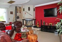 elegancki pokój dzienny z kominkiem w ekskluzywnej willi do sprzedaży Trzebinia (okolice)