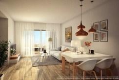 zaprojektowany zgodnie z najnowszymi trendami salon w luksusowym apartamencie na sprzedaż Hiszpania (Costa Blanca)