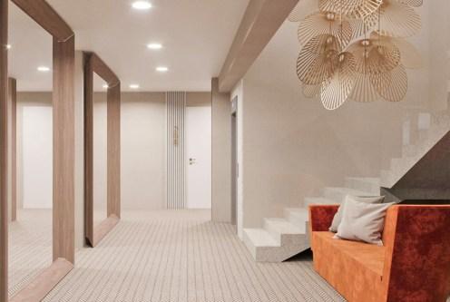 hol wiodący do luksusowego apartamentu do sprzedaży nad morzem