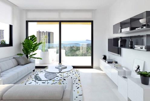 zaprojektowany zgodnie z najnowszymi trendami salon w ekskluzywnym apartamencie do sprzedaży Hiszpania (Benidorm, Urb. Las Lomas)