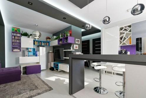 nowoczesna aranżacja salonu w ekskluzywnym apartamencie do sprzedaży Tarnów