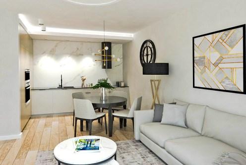 komfortowy salon w ekskluzywnym apartamencie do sprzedaży Ostrów Wielkopolski