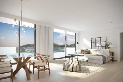 słoneczny pokój dzienny w ekskluzywnym apartamencie na sprzedaż Hiszpania Fuengirola, Malaga, Costa del Sol