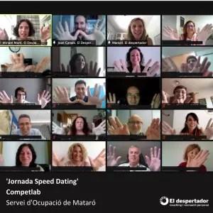 Imatge de la jornada de speed dating laboral en què varen participar persones en recerca de feina, empreses en cerca de candidats i l'equip tècnic del SOM Mataró