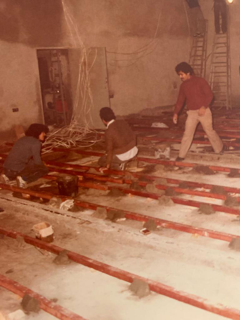 Preparing the floor of the small hall