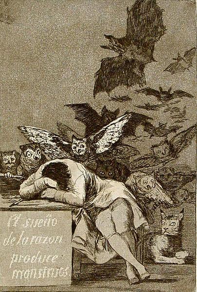 """Capricho nº 43 de Goya: """"El sueño de la razón produce monstruos"""