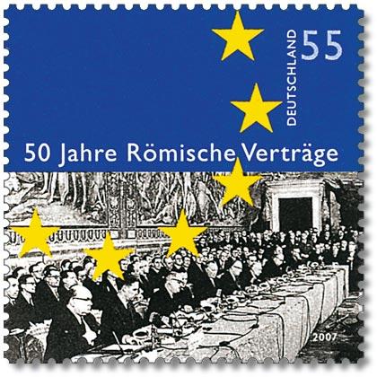 Sello alemán conmemorativo de la firma del Tratado de Roma de 1957