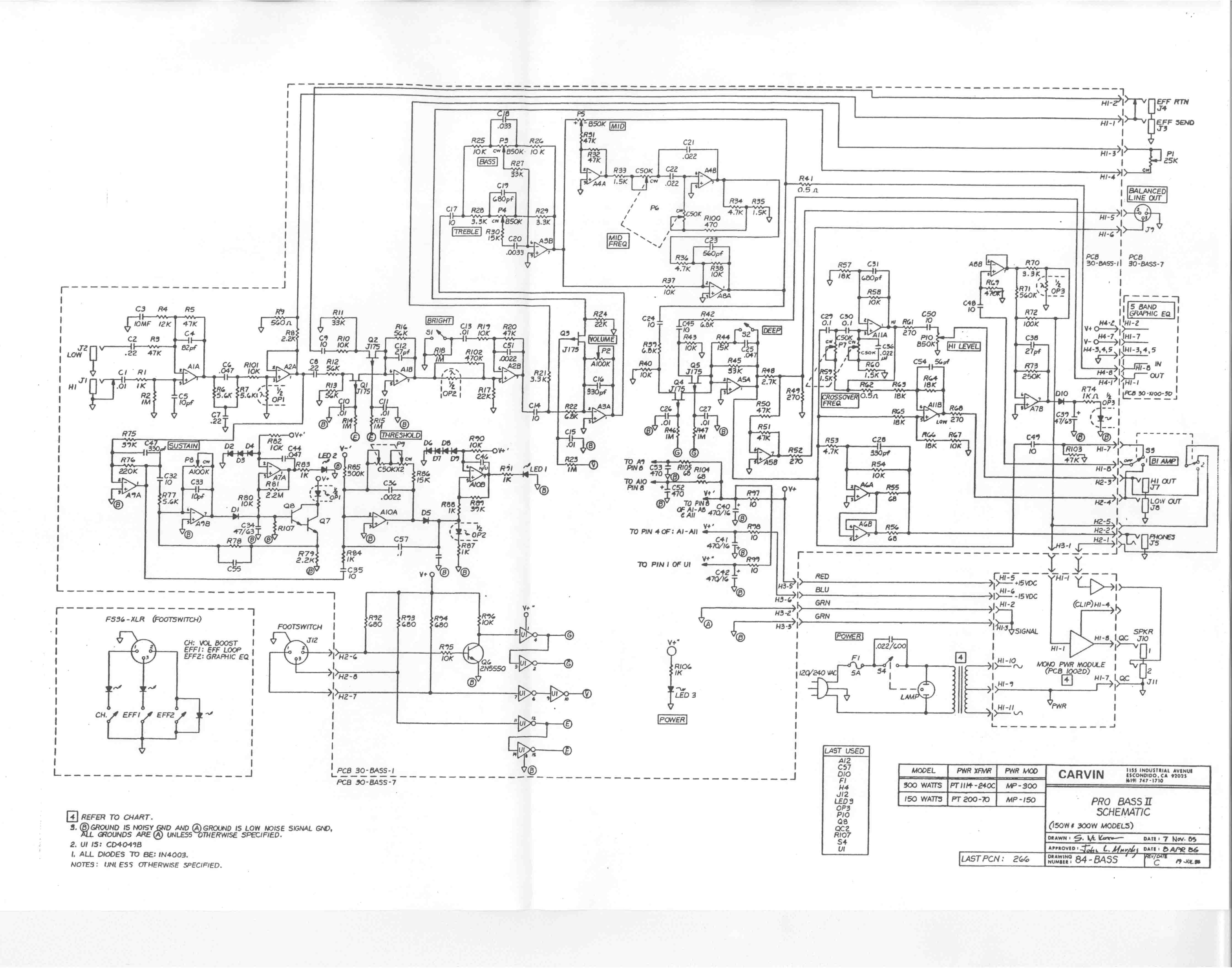 Carvin X100b Schematic