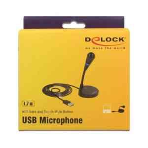 DELOCK USB μικρόφωνο 65868 με βάση και mute button   Συνοδευτικά PC   elabstore.gr