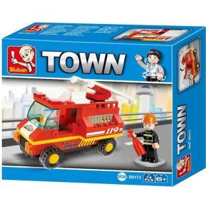 SLUBAN Τουβλάκια Town, Fire Truck M38-B0173, 74τμχ   Παιχνίδια   elabstore.gr