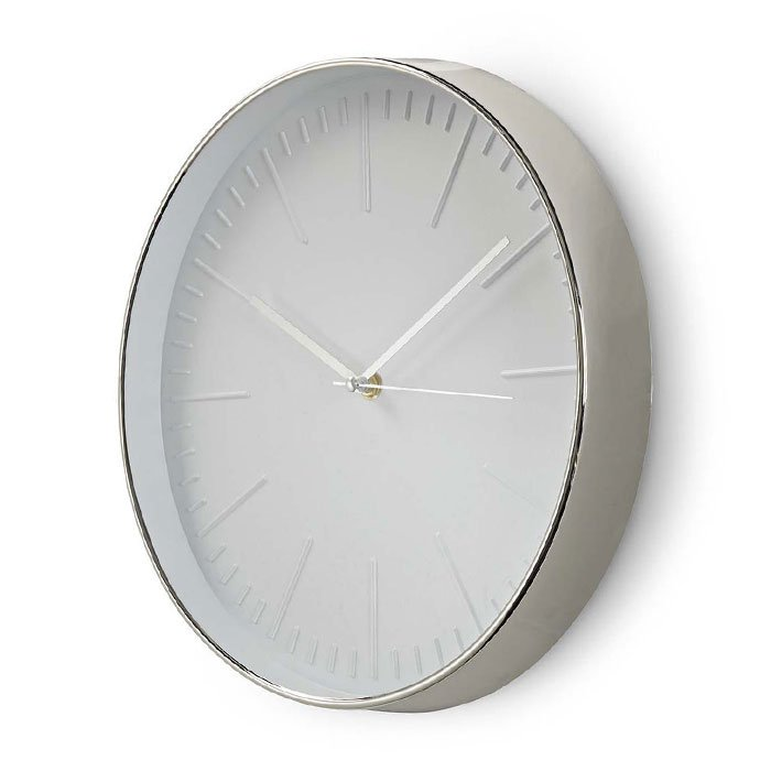 NEDIS CLWA013PC30SR Circular Wall Clock, 30 cm Diameter, White & Silver   ΜΙΚΡΟΣΥΣΚΕΥΕΣ / ΕΠΟΧΙΑΚΑ / ΛΕΥΚΕΣ ΣΥΣΚΕΥΕΣ   elabstore.gr