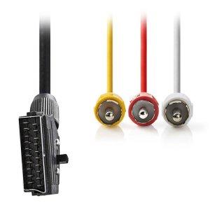 NEDIS CVGP31130BK20 Switchable SCART Cable, SCART Male - 3x RCA Male, 2m, Black | ΚΑΛΩΔΙΑ / ADAPTORS | elabstore.gr