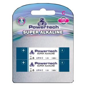 POWERTECH SUPER Αλκαλική μπαταρία LR14, 1.5V, 2τμχ | Μπαταρίες | elabstore.gr