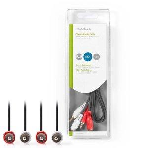NEDIS CAGB24200BK10 Stereo Audio Cable 2x RCA Male - 2x RCA Male 1.0 m Black   ΚΑΛΩΔΙΑ / ADAPTORS   elabstore.gr