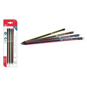MP ξύλινο μολύβι με γόμα PE332, τρίγωνο, HB, 4τμχ   Αναλώσιμα - Είδη Γραφείου   elabstore.gr
