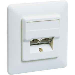 50972 CAT 5e DUP WHITE FLUSH MOUNT ΤΟΙΧΟΥ | ΔΙΚΤΥΑΚΑ / SMART HOME | elabstore.gr