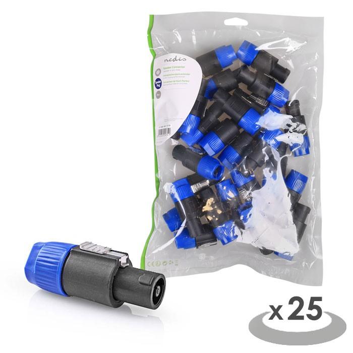 NEDIS CAVC16900BK Speaker Connector Speaker 4-pin Male 25 pieces Black | ΚΑΛΩΔΙΑ / ADAPTORS | elabstore.gr
