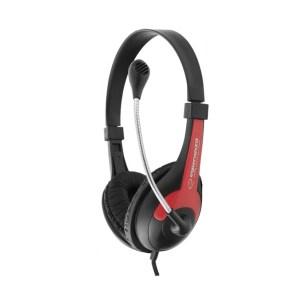 Ακουστικό με μικρόφωνο κόκκινο EH158R   Περιφερειακά   elabstore.gr