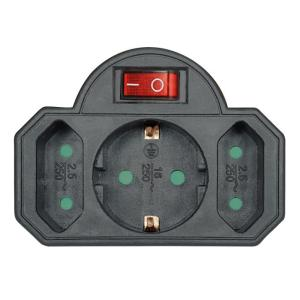 POWERTECH αντάπτορας ρεύματος PT-827, 1x schuko, 2x euro, 16A, μαύρος | Τροφοδοσία Ρεύματος | elabstore.gr