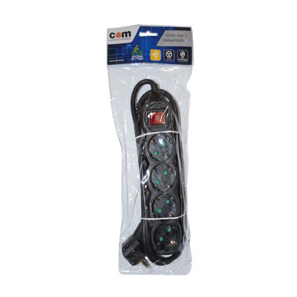 Πολύπριζα 4θ Με Διακόπτη 1,5M,3g1,5 μαύρο COM   Ηλεκτρολογικά   elabstore.gr