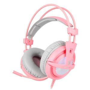 SADES Gaming Headset A6, multiplatform, USB, LED, ροζ | Συνοδευτικά PC | elabstore.gr