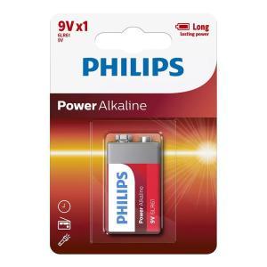 PHILIPS Power αλκαλικές μπαταρίες 6LR61P1B/10, 6LR61 9V, 1τμχ | Μπαταρίες | elabstore.gr