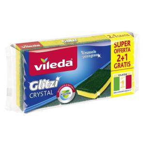 VILEDA Σφουγγάρι πιάτων Glitzi Crystal, 3τμχ | Οικιακές & Προσωπικές Συσκευές | elabstore.gr