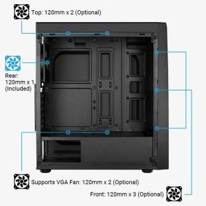AEROCOOL PC case mid tower BOLT-A-BK-V1, 194x444x410mm, 1x fan | PC & Αναβάθμιση | elabstore.gr