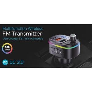 POWERTECH FM Transmitter PT-958 με οθόνη, RGB, QC3.0, Bluetooth, μαύρος | Gadgets - Αξεσουάρ | elabstore.gr