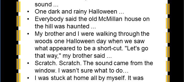 Halloween Story Starters and Acrostic Poem Middle School ELA