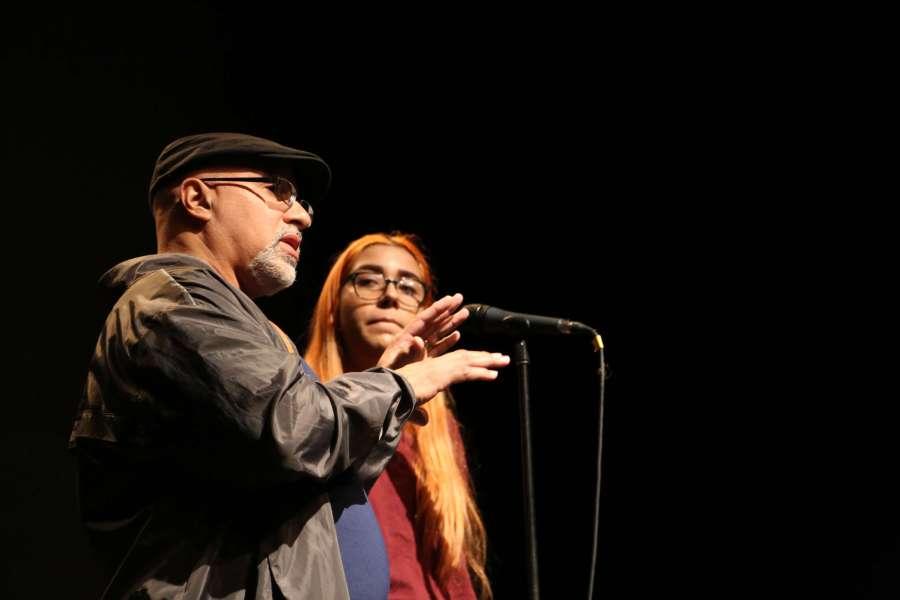 Wilmet Martínez, Poeta mentor y Sarah Rosas, estudiante de Escuela San Germán Interamericana, 11mo grado
